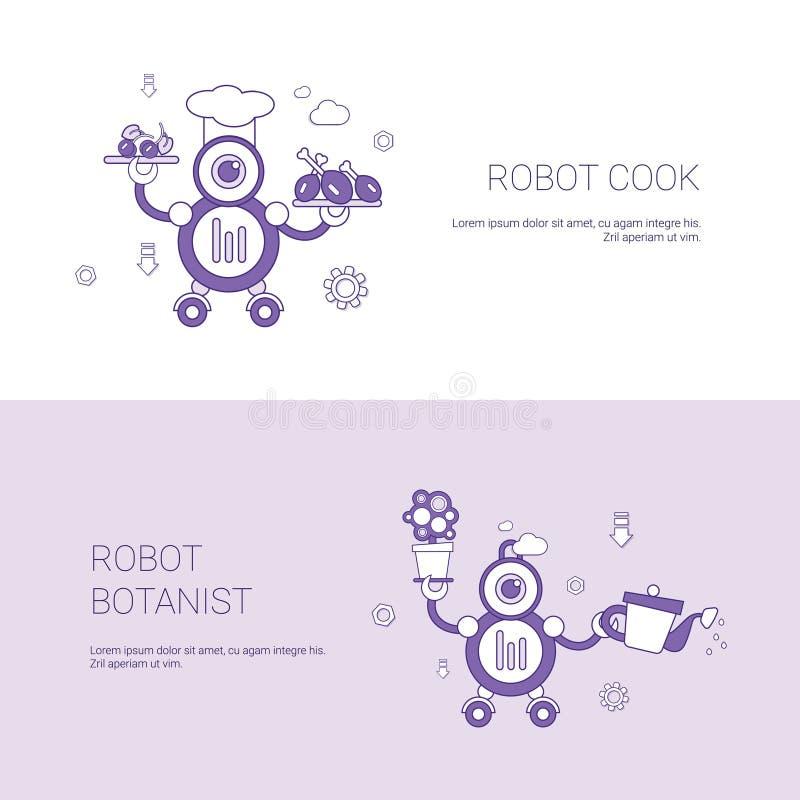 Roboter-Koch-And Botanist Concept-Schablonen-Netz-Fahne mit Kopien-Raum stock abbildung