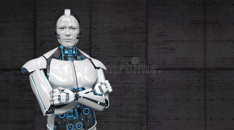 Roboter kreuzte Hände stock abbildung