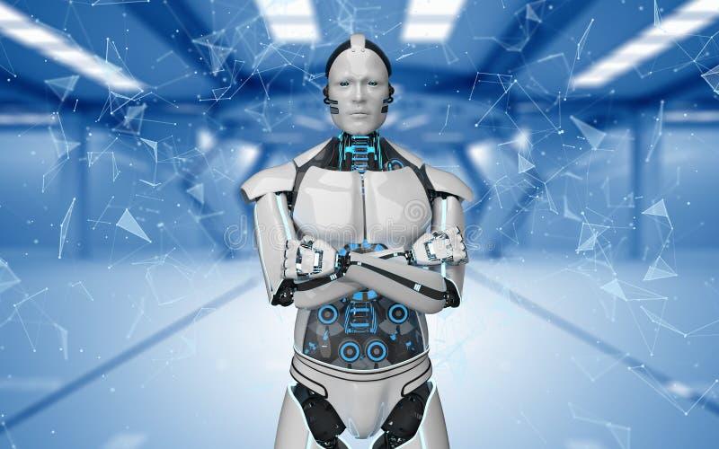 Roboter kreuzte Handfuturistische Raum-Netze lizenzfreie abbildung