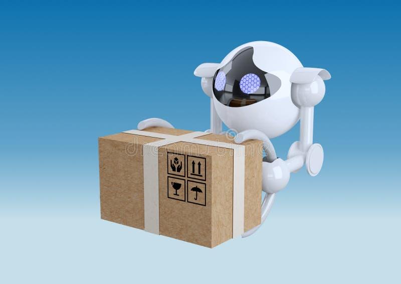 Roboter, kugelförmige Brummen, die mit Kasten in ihren Greifern fliegen vektor abbildung