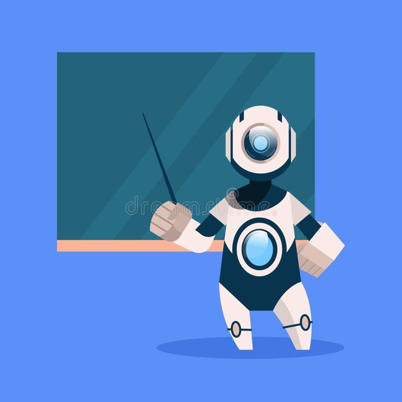Roboter-Lehrer-On Blue Background-Konzept-moderne künstliche Intelligenz-Technologie lizenzfreie abbildung