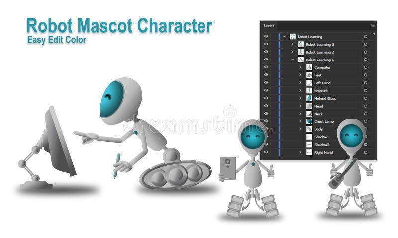 Roboter-Maskottchen-Charakter lizenzfreie abbildung