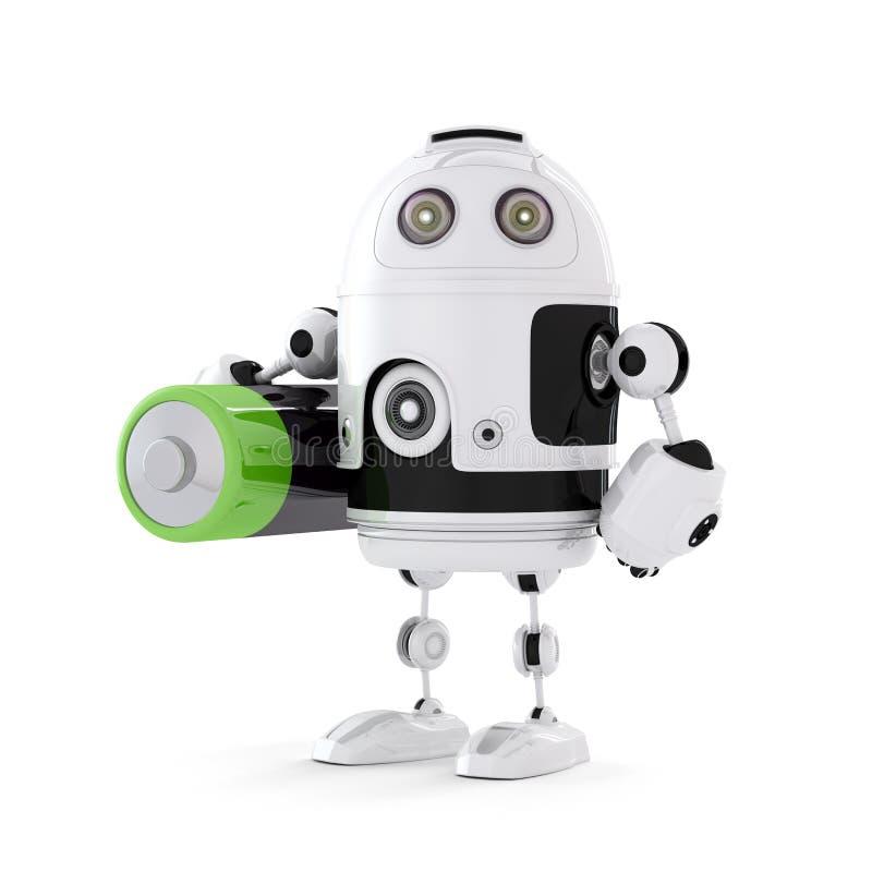 Roboter mit Batterie lizenzfreie stockbilder