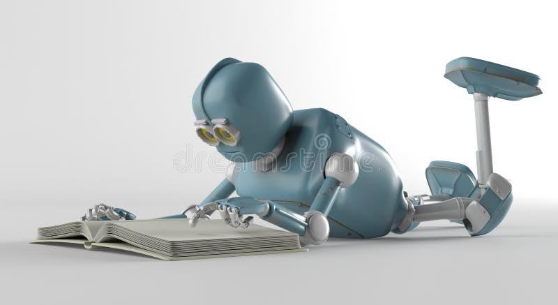 Roboter mit Buch, 3d übertragen lizenzfreie abbildung