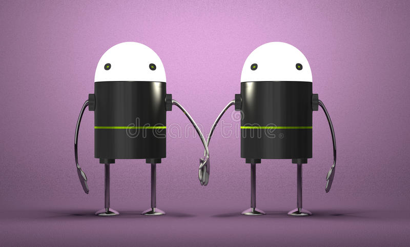 Roboter mit dem glühenden Kopfhändchenhalten vektor abbildung