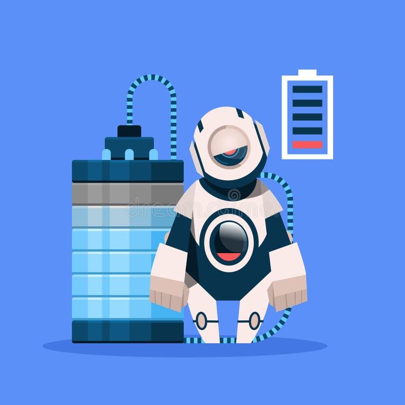 Roboter mit der Aufladung der schwachen Batterie lokalisiert auf blaues Hintergrund-Konzept-moderner künstliche Intelligenz-Techn stock abbildung