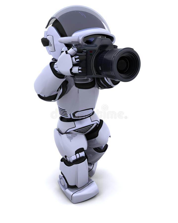 Roboter mit DSLR Kamera lizenzfreie abbildung