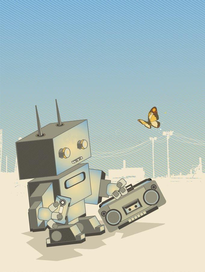 Roboter mit einem Hochkonjunkturkasten stock abbildung