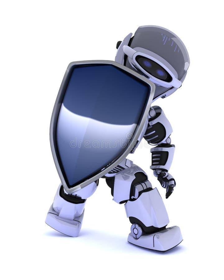 Roboter mit einem Schild lizenzfreie abbildung