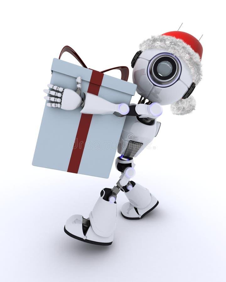 Roboter mit einem Weihnachtsgeschenk stock abbildung