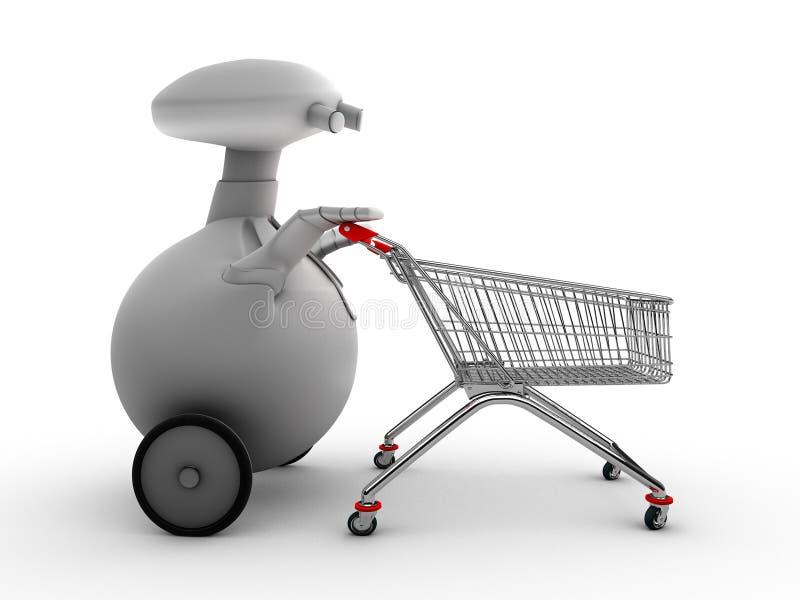 Roboter mit Einkaufenlaufkatze stock abbildung