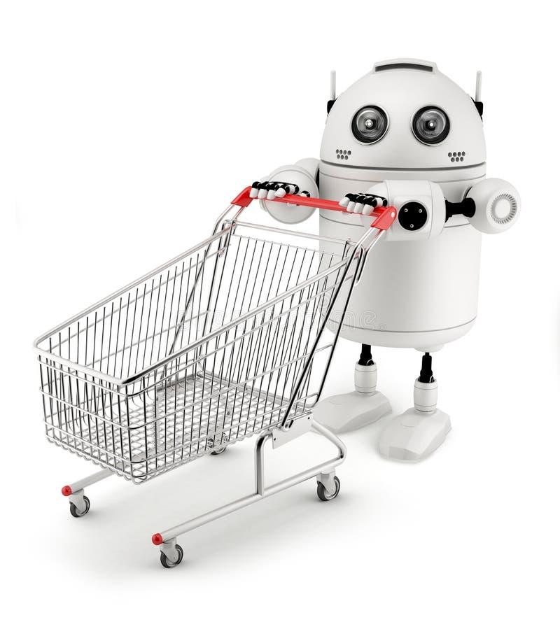 Roboter mit Einkaufswagen vektor abbildung