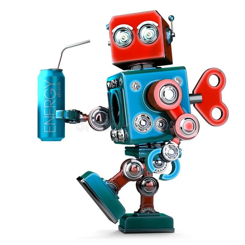 Roboter mit Energiegetränk kann Getrennt auf Weiß Abbildung 3D stock abbildung