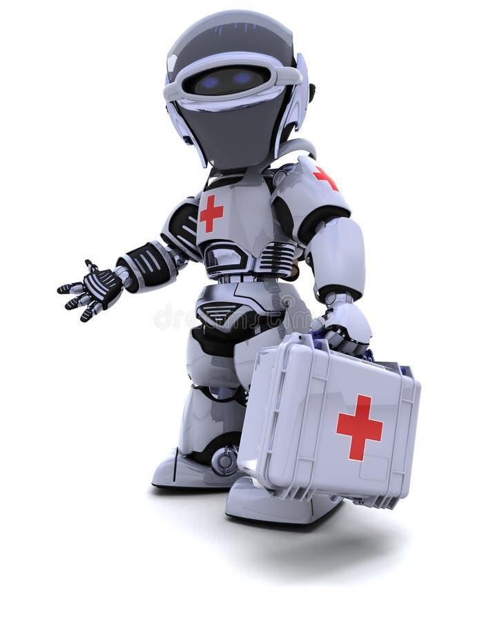 Roboter mit Erste-Hilfe-Ausrüstung lizenzfreie abbildung