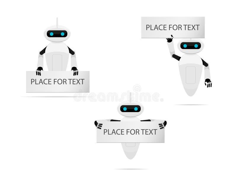 Roboter mit Fahne lizenzfreie abbildung