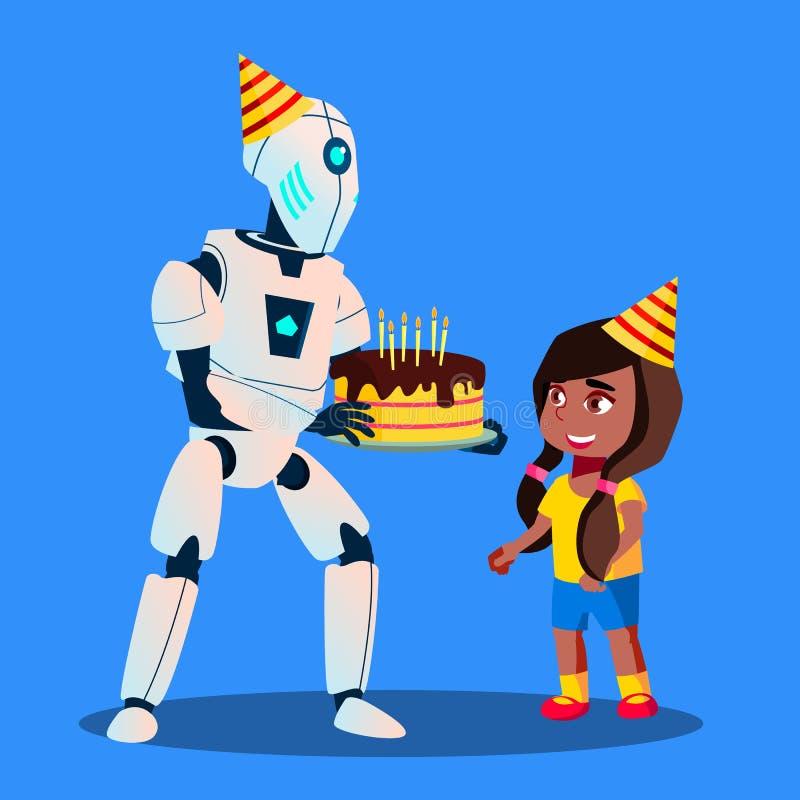 Roboter mit Geburtstags-Kuchen in den Händen am Feier-Vektor Getrennte Abbildung lizenzfreie abbildung