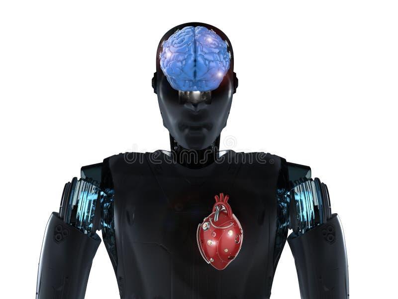 Roboter mit Gehirn und Herzen lizenzfreie abbildung