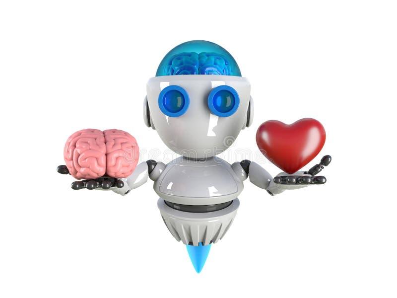 Roboter mit Gehirn und rotes Herz in den Händen lokalisiert lizenzfreie abbildung