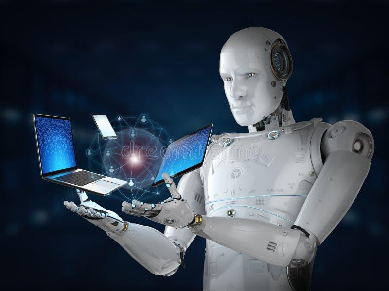 Roboter mit Gerät lizenzfreie abbildung