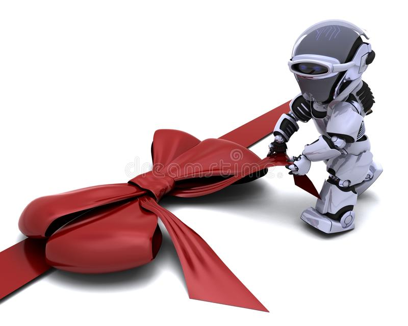 Roboter mit Geschenkbogen vektor abbildung