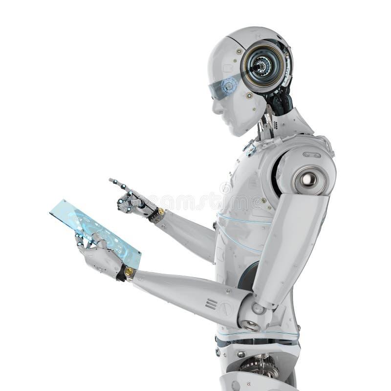 Roboter mit Glastablette vektor abbildung