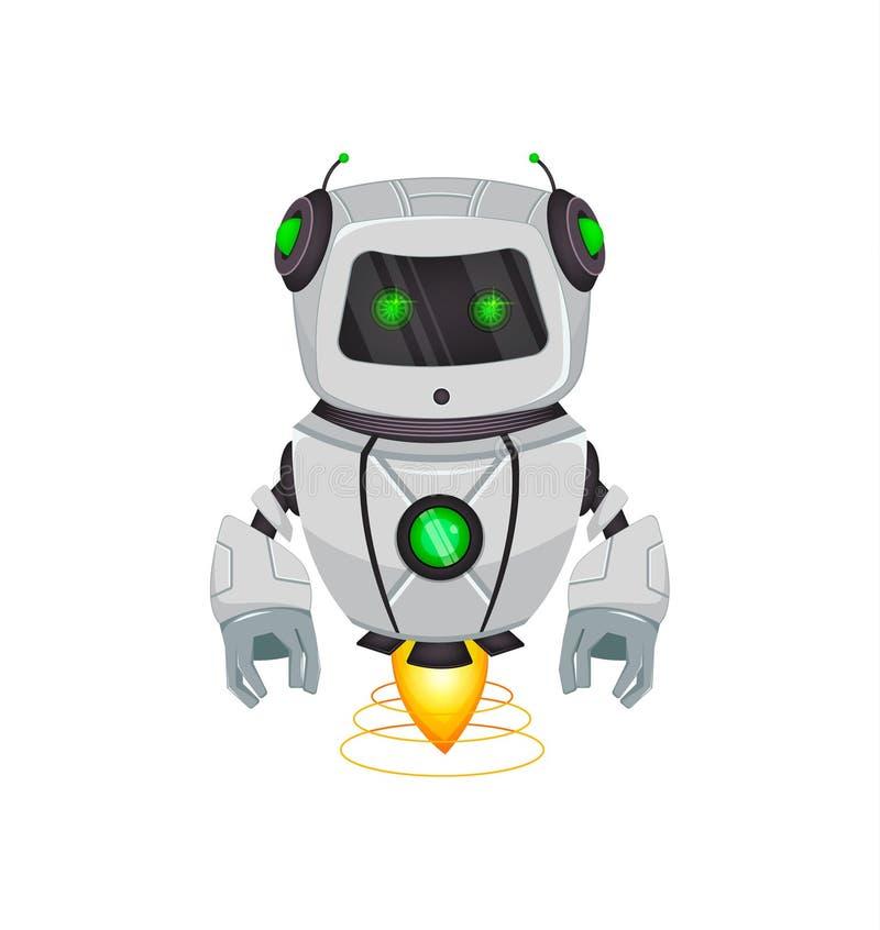 Roboter mit künstlicher Intelligenz, Bot Lustige Zeichentrickfilm-Figur hält grüne Geschenkbox Kybernetischer Organismus des Huma lizenzfreie abbildung