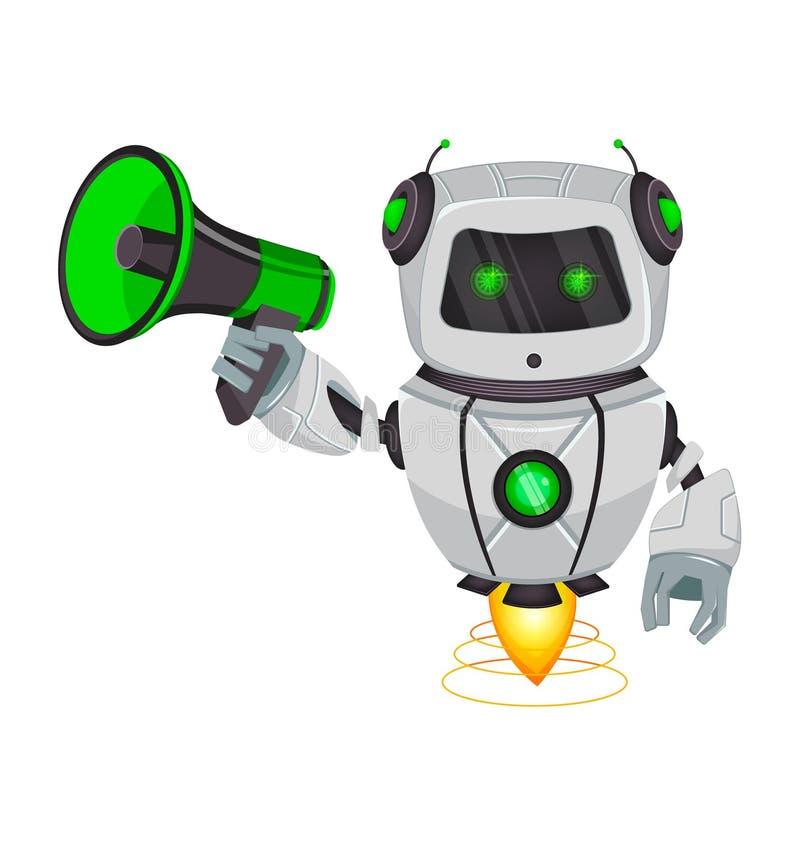 Roboter mit künstlicher Intelligenz, Bot Lustige Zeichentrickfilm-Figur hält Lautsprecher Kybernetischer Organismus des Humanoid  stock abbildung