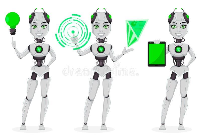 Roboter mit künstlicher Intelligenz, weiblicher Bot lizenzfreie abbildung