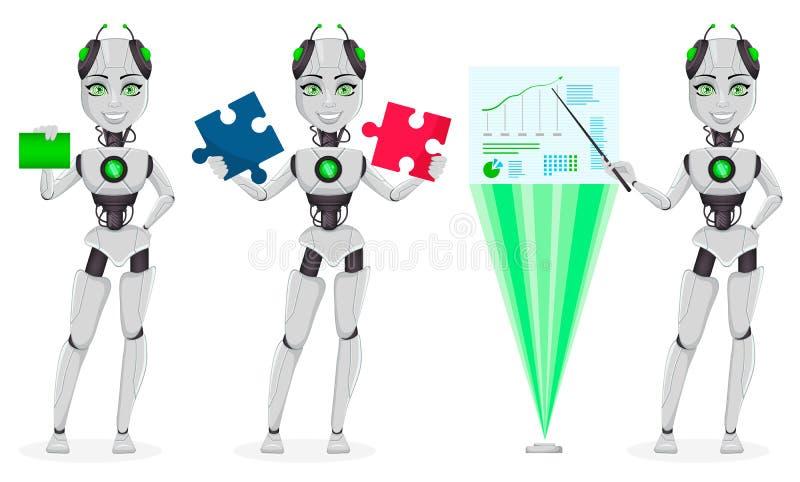 Roboter mit künstlicher Intelligenz, weiblicher Bot vektor abbildung