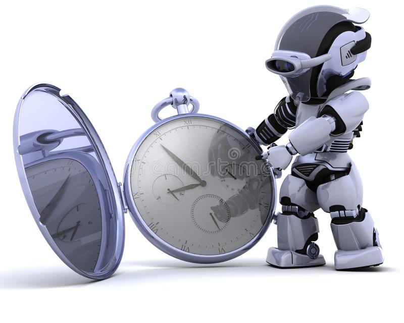 Roboter mit klassischer Taschenuhr lizenzfreie abbildung