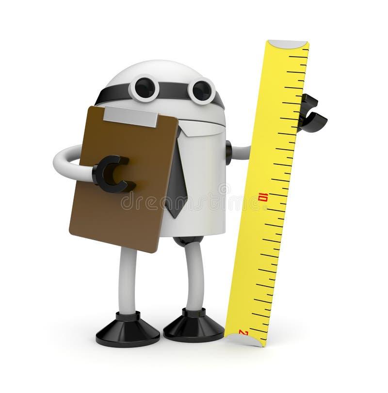 Roboter mit Klemmbrett und Tabellierprogramm. Prüfer lizenzfreie abbildung
