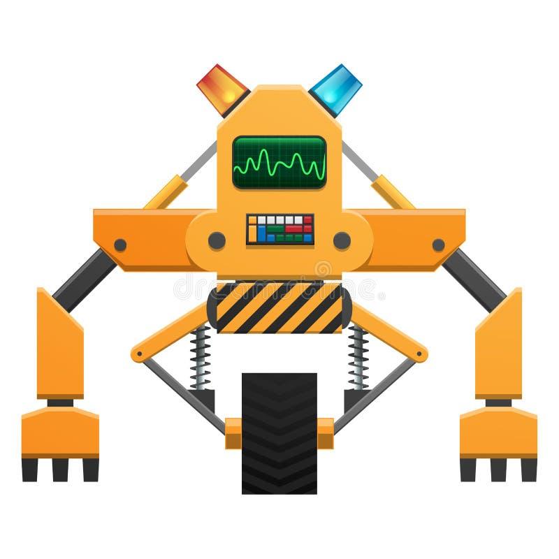 Roboter mit Knopf-und Indikatorillustration stock abbildung
