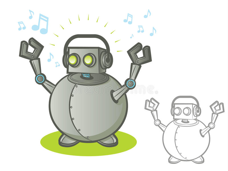 Roboter mit Kopfhörern lizenzfreie abbildung