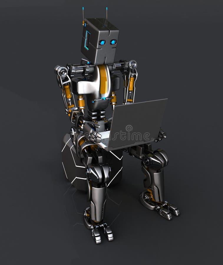 Roboter mit Laptop vektor abbildung