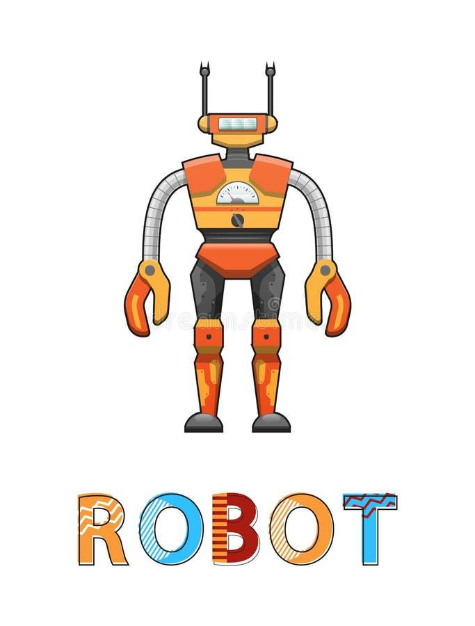 Roboter mit lustiger Gesichts-Plakat-Vektor-Illustration lizenzfreie abbildung
