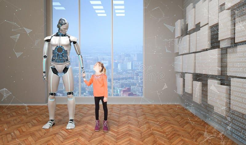 Roboter mit Mädchen stockfoto