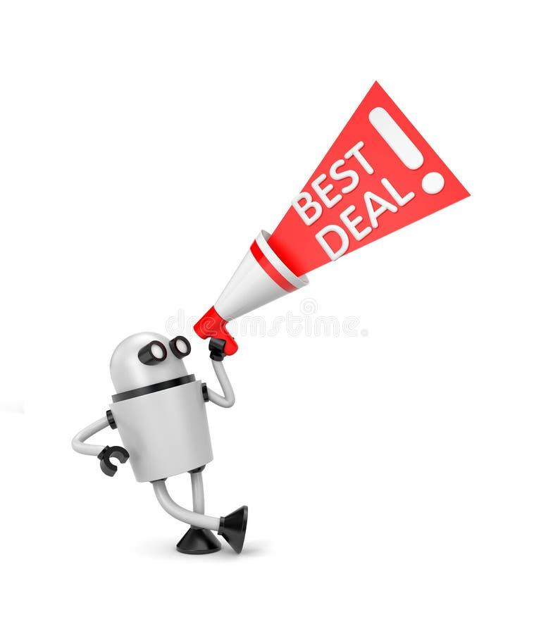 Roboter mit Megaphonangebot - bestes Abkommen stock abbildung