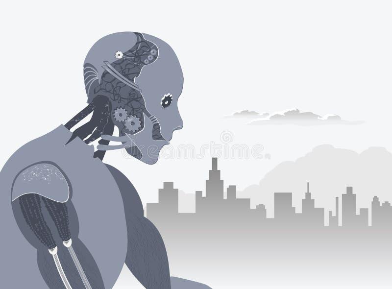 Roboter mit Stadt-Skylinen und Wolkenabbildung vektor abbildung