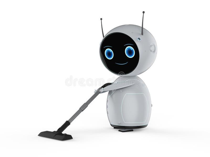 Roboter mit Staubsauger lizenzfreie abbildung