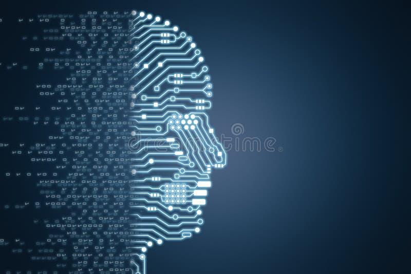 Roboter mit Stromkreisgehirn lizenzfreie stockbilder
