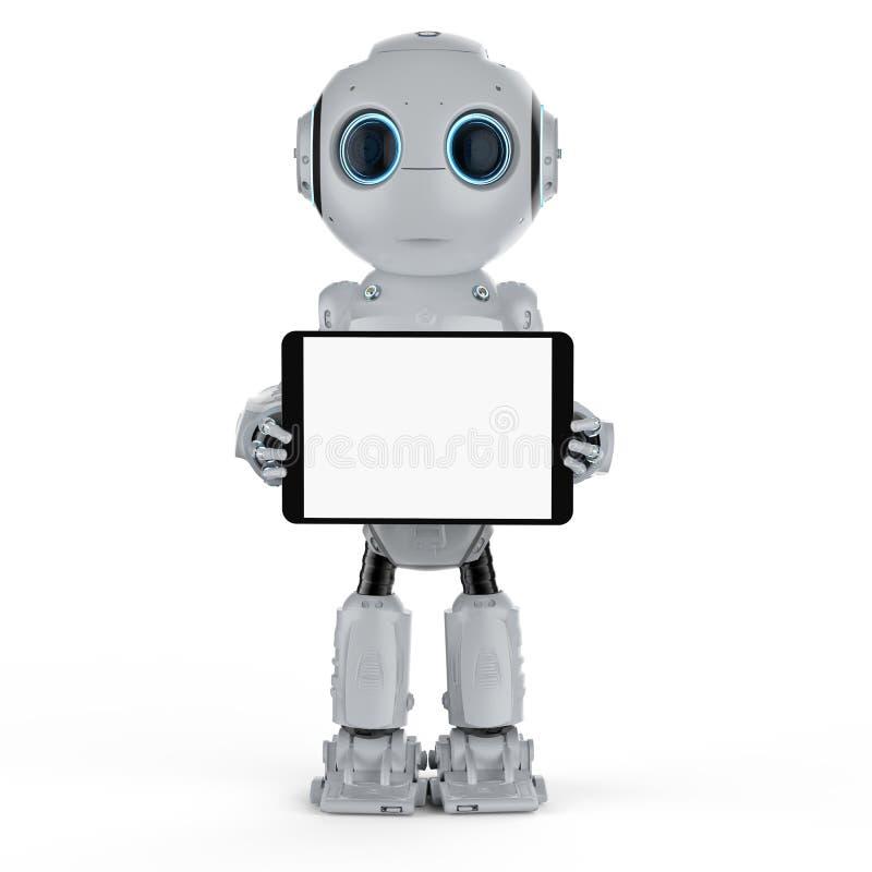 Roboter mit Tablette lizenzfreie abbildung