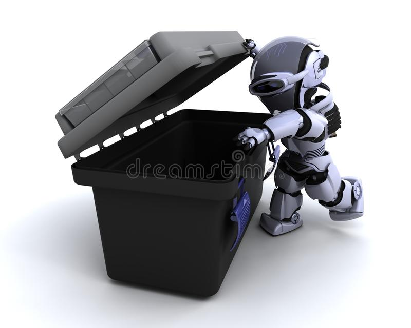 Roboter mit Werkzeugkasten vektor abbildung