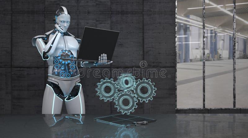 Roboter-Notizbuch-Gang-Räder lizenzfreie abbildung