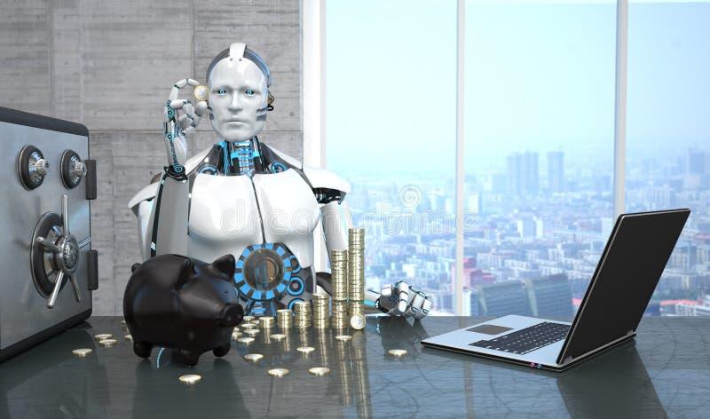 Roboter-Notizbuch-sicheres Sparschwein-Euromünzen lizenzfreie abbildung