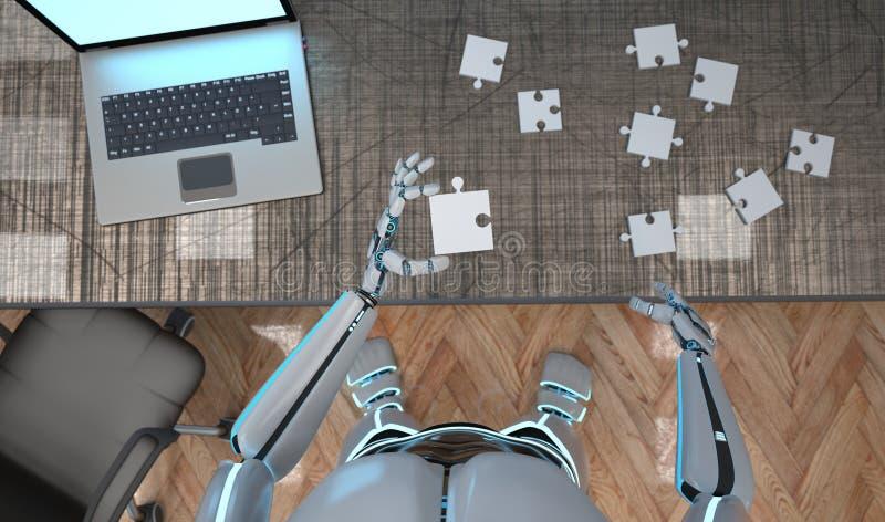 Roboter-Puzzlespiel lizenzfreie abbildung