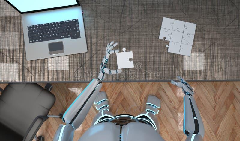 Roboter-Puzzlespiel stock abbildung