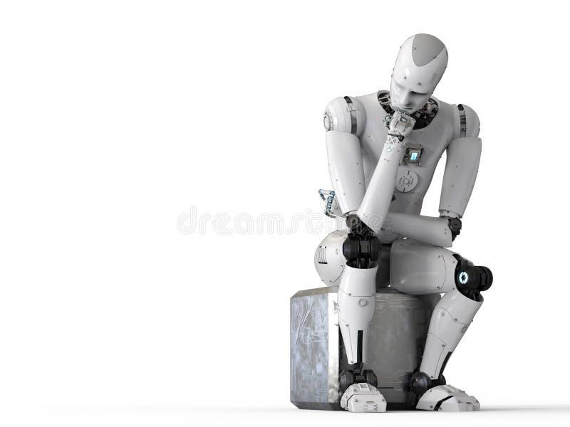 Roboter setzen sich und Denken hin stock abbildung