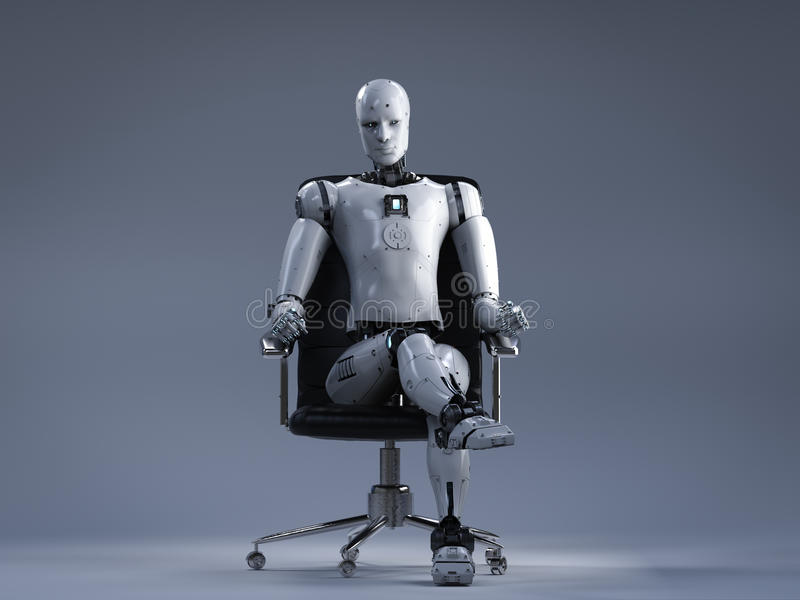 Roboter sitzen auf Bürostuhl vektor abbildung
