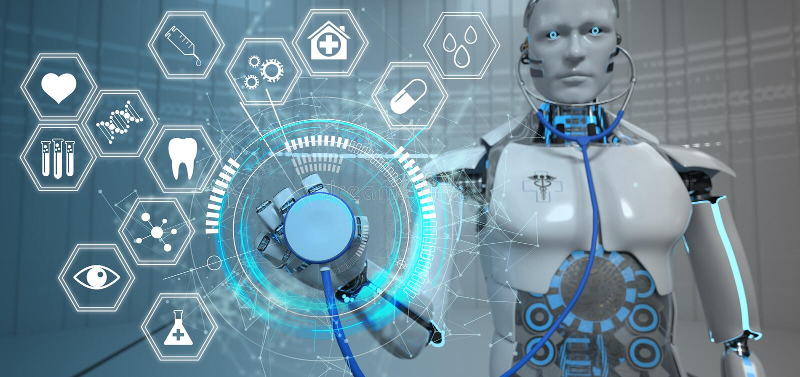 Roboter-Stethoskop-Hexagone HUD Medicine Icons lizenzfreie abbildung
