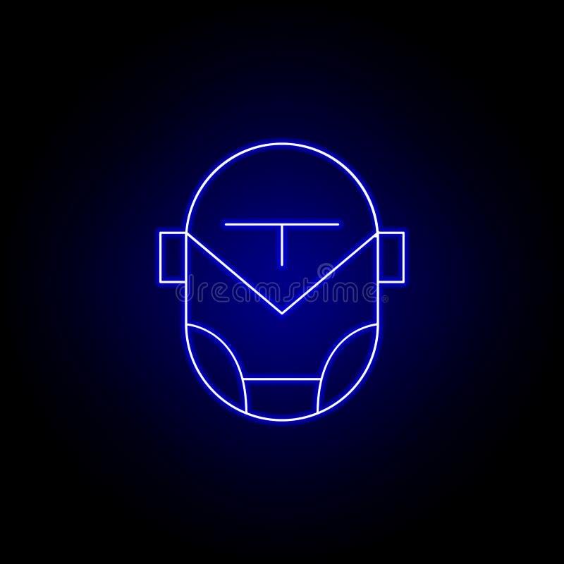 Roboter, Superheldlinie Ikone in der blauen Neonart Zeichen und Symbole k?nnen f?r Netz, Logo, mobiler App, UI, UX verwendet werd lizenzfreie abbildung